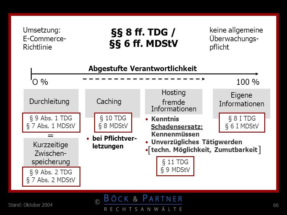 §§ 8 ff. TDG / §§ 6 ff. MDStV = [ ] O % 100 % Umsetzung: E-Commerce-